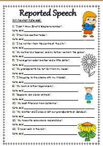 Write What Kate Said    (Reported Speech Worksheet)