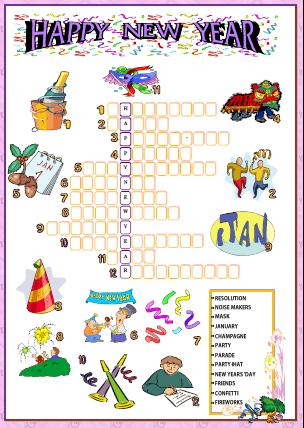 photo about New Year Crossword Puzzle Printable called Fresh new 12 months Crossword