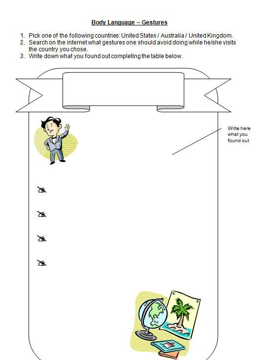 Body Language Gestures Worksheet
