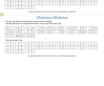 Christmas Mistletoe Tile Puzzle