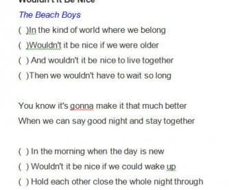 Song Worksheet: Wouldn't It Be Nice by The Beach Boys
