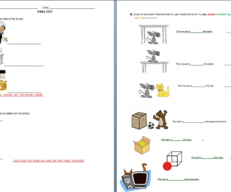 Final Test [kids]: Jobs, Numbers, Prepositions of Place, Articles