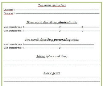 Movie Character Description (Oral Preparation Sheet)