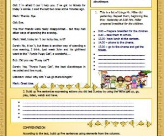 Talking about Past Actions Worksheet