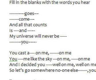 Song Worksheet: Glad You Came by The Wanted