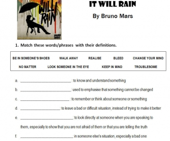 Song Worksheet: It Will Rain by Bruno Mars