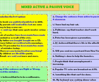 Mixed Active & Passive Voice Worksheet
