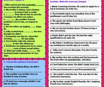 Linking Words: Practice Worksheet