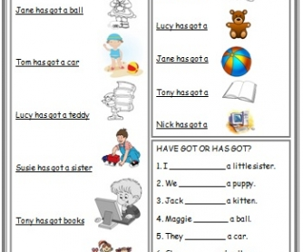 Have/has Got: Elementary Worksheet with Basic Words