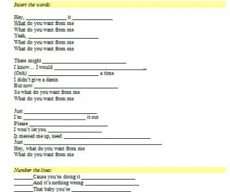 Song Worksheet: What Do You Want From Me? by Adam Lambert