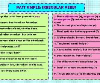 Past Simple: Irregular Verbs Worksheet