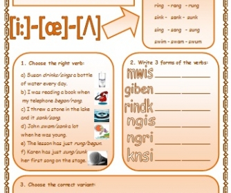Irregular Verbs: Patterns Of Formation 3 (with exercises)