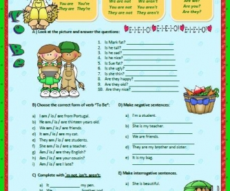 Verb To Be Elementary Worksheet II