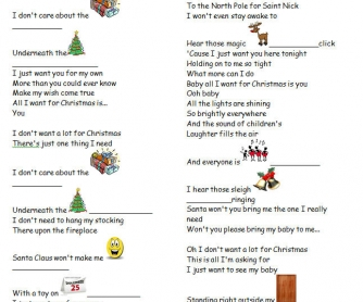 Song Worksheet All I Want For Christmas By Mariah Carey