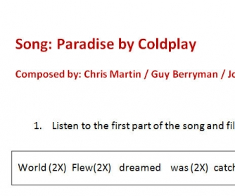 Song Worksheet: Paradise by Coldplay