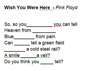 Song Worksheet: Wish You Were Here by Pink Floyd