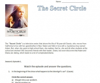 Movie Worksheet: The Secret Circle [Episode One]
