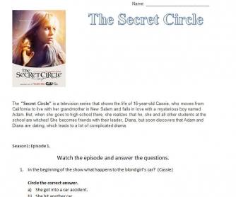 Movie Worksheet: The Secret Circle [Episode One]