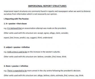 Impersonal Report Structures