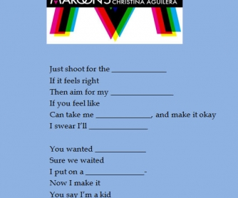 Song Worksheet: Moves Like Jagger by Maroon 5 and Christina Aguilera