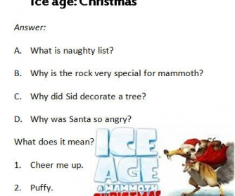 Cartoon Worksheet: Ice Age: A Mammoth Christmas