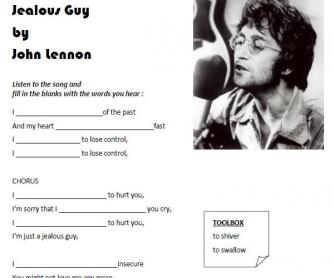 Song Worksheet: Jealous Guy by John Lennon