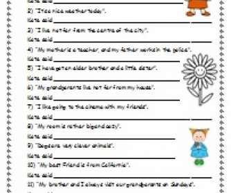 Write What Kate Said... (Reported Speech Worksheet)