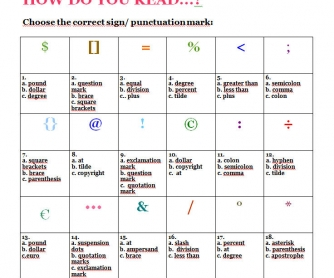 How Do You Read Symbols & Punctuation? Part 3