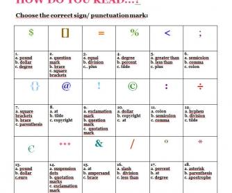 How Do You Read Symbols & Punctuation? Part 3