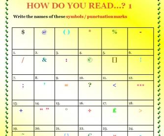 How Do You Read Symbols & Punctuation? Part 1