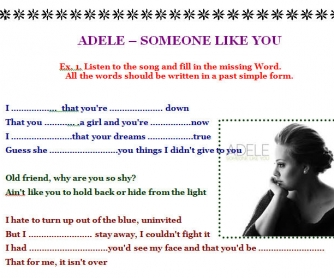 Song Worksheet: Someone Like You by Adele [Alternative]
