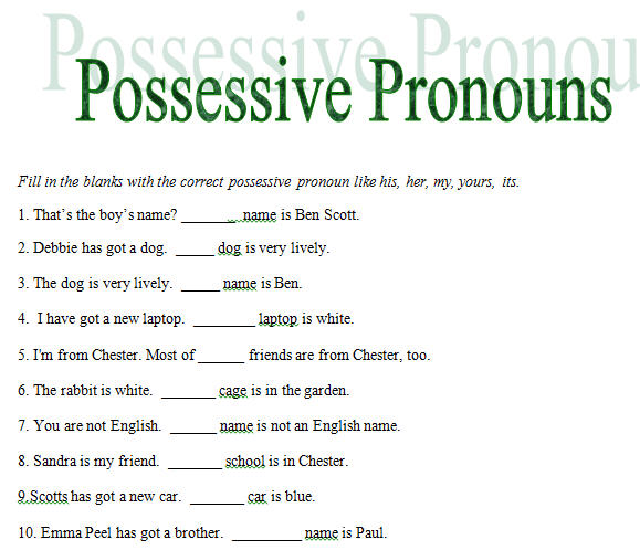 ... Possessive Adjectives Pronouns. on possessive pronouns worksheets free