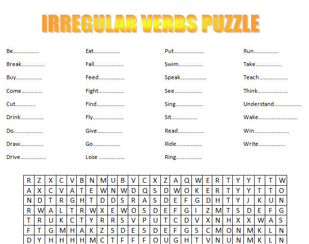 Verbs Puzzle – Irregular Verbs Worksheets