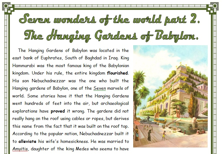 Seven Wonders Of The World Part 2 The Hanging Gardens Of Babylon