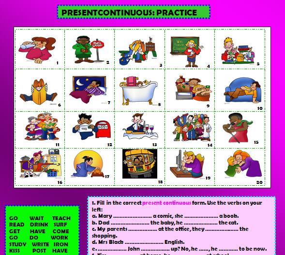 Free Worksheets esl worksheet : Present Continuous Practice Worksheet
