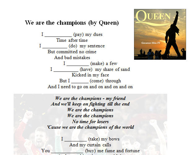 Worksheet: We Are The Champions by Queen