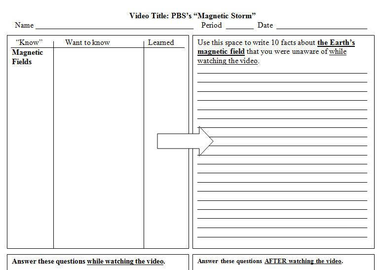 Video Worksheet: Magnetic Storm from PBS