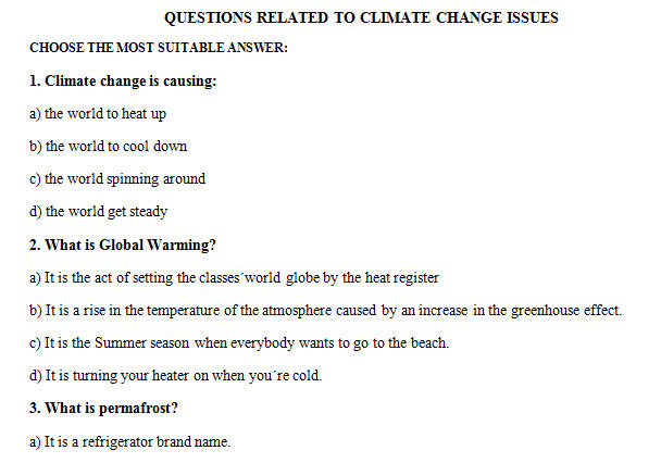 climate change multiple choice worksheet. Black Bedroom Furniture Sets. Home Design Ideas