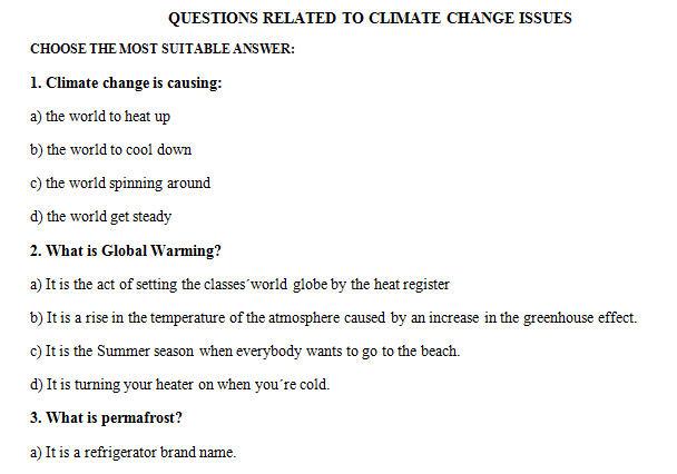 Climate Change Multiple Choice Worksheet