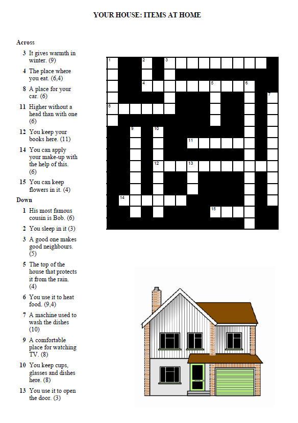 Modular Classroom Crossword : Your house crossword