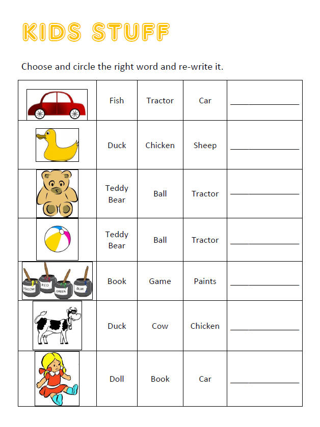 Toys Vocabulary Multiple Choice And Writing Worksheet