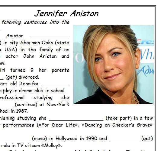 Aniston Biography Worksheet – Biography Worksheets