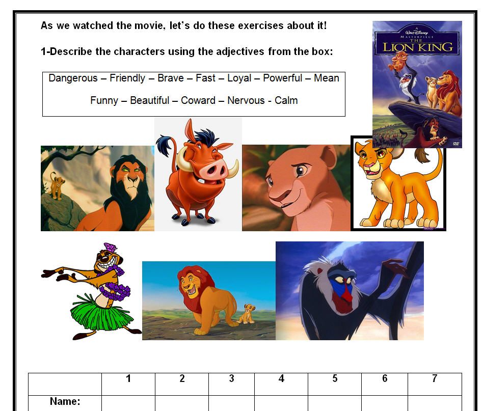 The Lion King Wild Life Worksheet