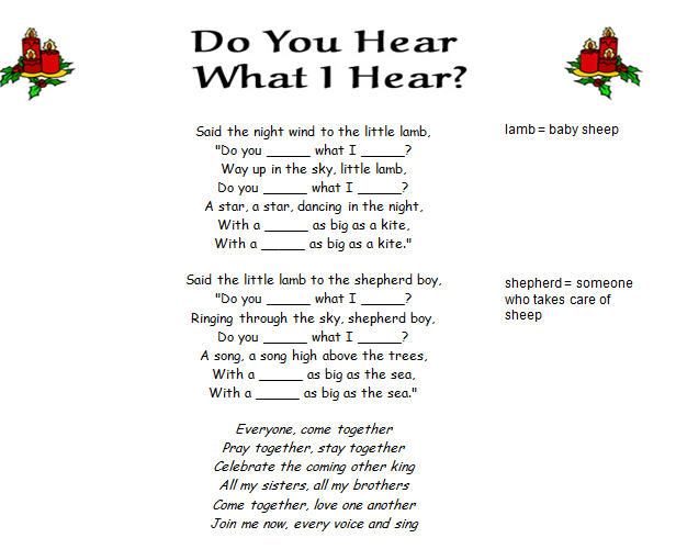 song worksheet do you hear what i hear by destinys child