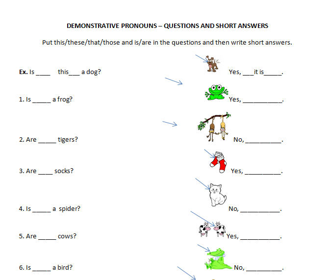Questions and Short Answers – Demonstrative Adjectives Worksheets