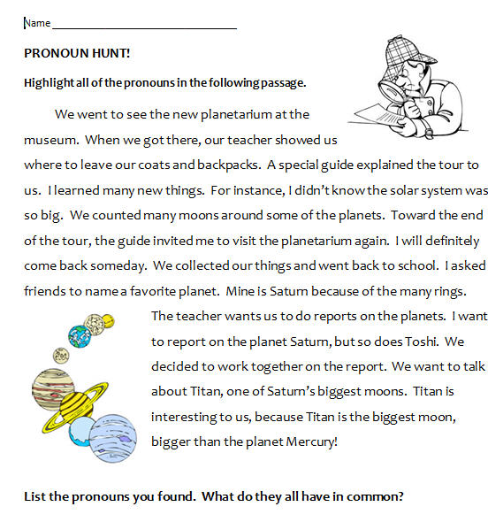 Second, and Third Person Pronoun Hunt