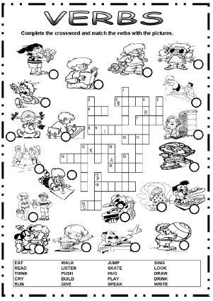 9229 Action Verbs Picture Crossword on Halloween Noun Worksheets For Kindergarten