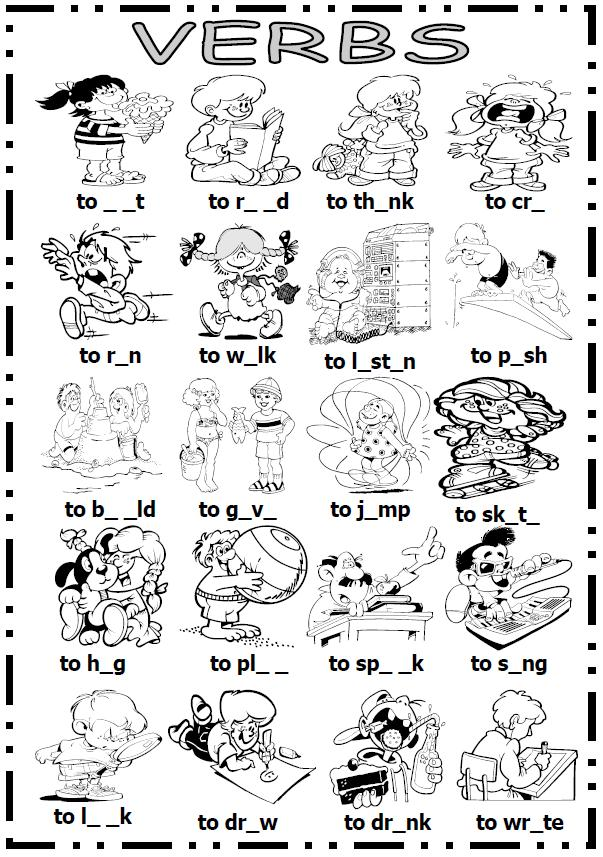 Action Verb Esl Worksheets Pictures To Pin On Pinterest