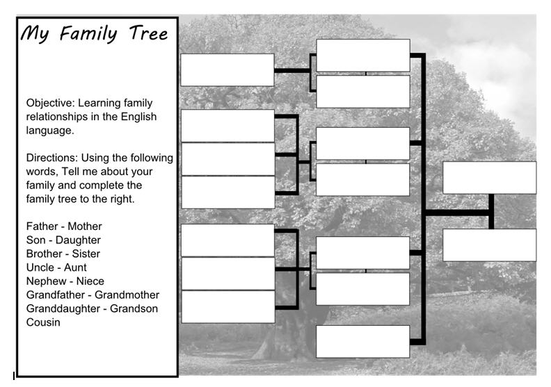 My Family Tree for ESL Students