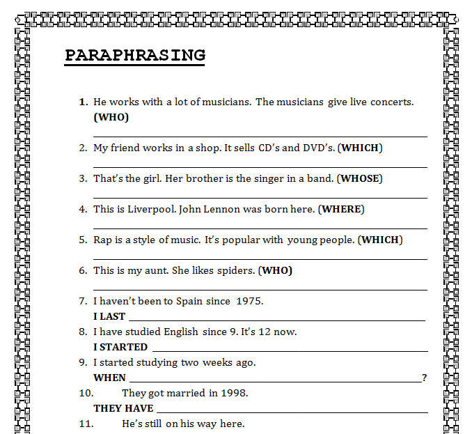 {Clauses Worksheet – Paraphrasing Practice Worksheet